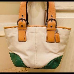 Coach cream canvas satchel
